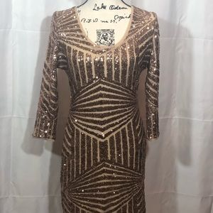 WOW Couture Dress 👗Gold Sequence Size L